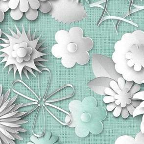 Paper Cut Flowers (Pale Robin Egg Blue)