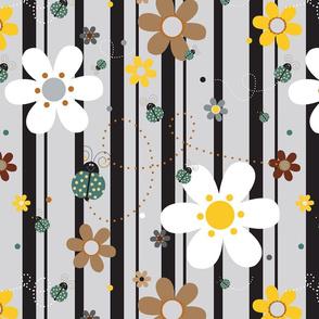 FlowersWithLadybugsGrey