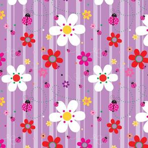FlowersWithLadybugsPurple