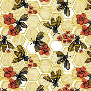 Honey Bee Hexagon Small
