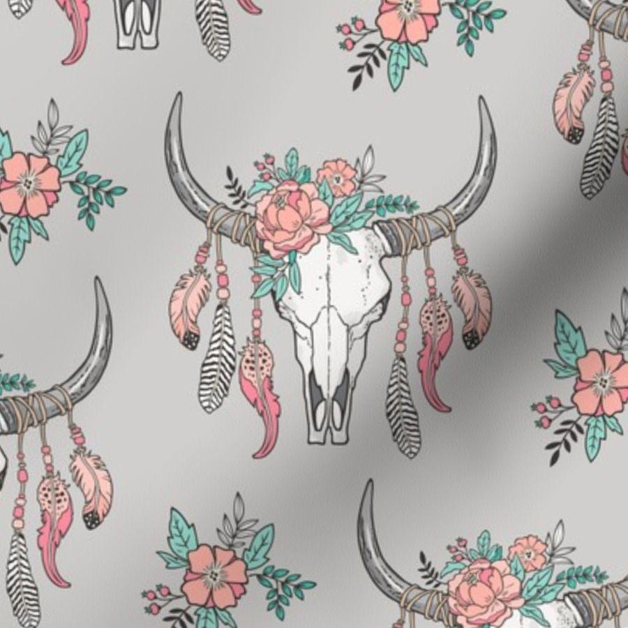 45af5009b84 Boho longhorn cow skull feathers flowers peach on grey caja design jpg  900x900 Horns feather flower