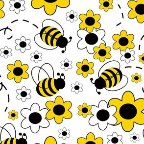 Honey Bumble Bee Spring Yellow White Floral