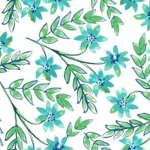Blue Green Floral