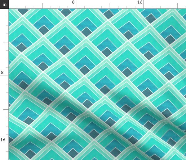 Teal Ombre Square Art Deco Pattern