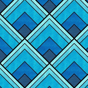 Flowing Blue Ombré Art Deco Pattern