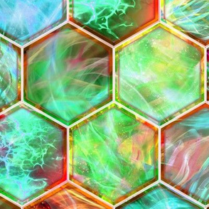 MAGIC CONTAINED LIGHTNING HEXAGONS   aqua jade orange