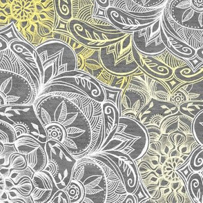 Yellow, White and Grey Hand Drawn Mandalas large