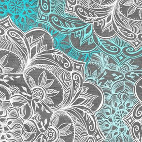 Turquoise, White and Grey Hand Drawn Mandalas large