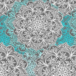 Turquoise, White and Grey Hand Drawn Mandalas small
