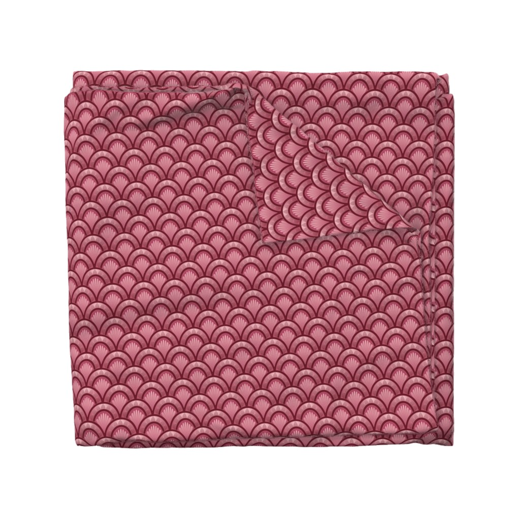Wyandotte Duvet Cover featuring Art Deco Theater Cranberry by hannafate