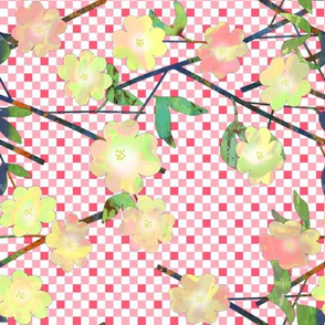 Painted Cut Paper Yellow Dogwood Blossoms on Gingham Large