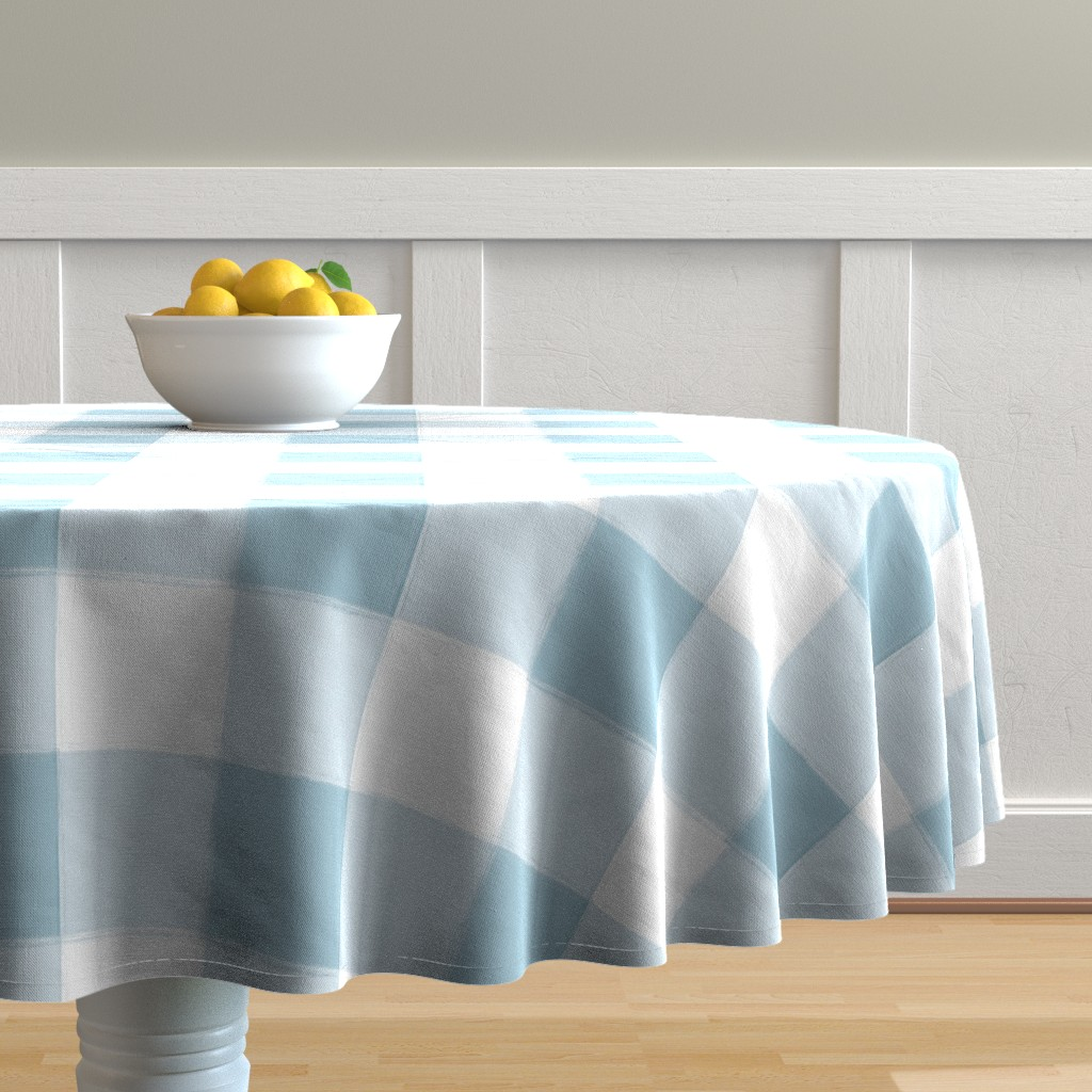 Malay Round Tablecloth featuring Large Light Blue Buffalo Check Gingham by sugarfresh