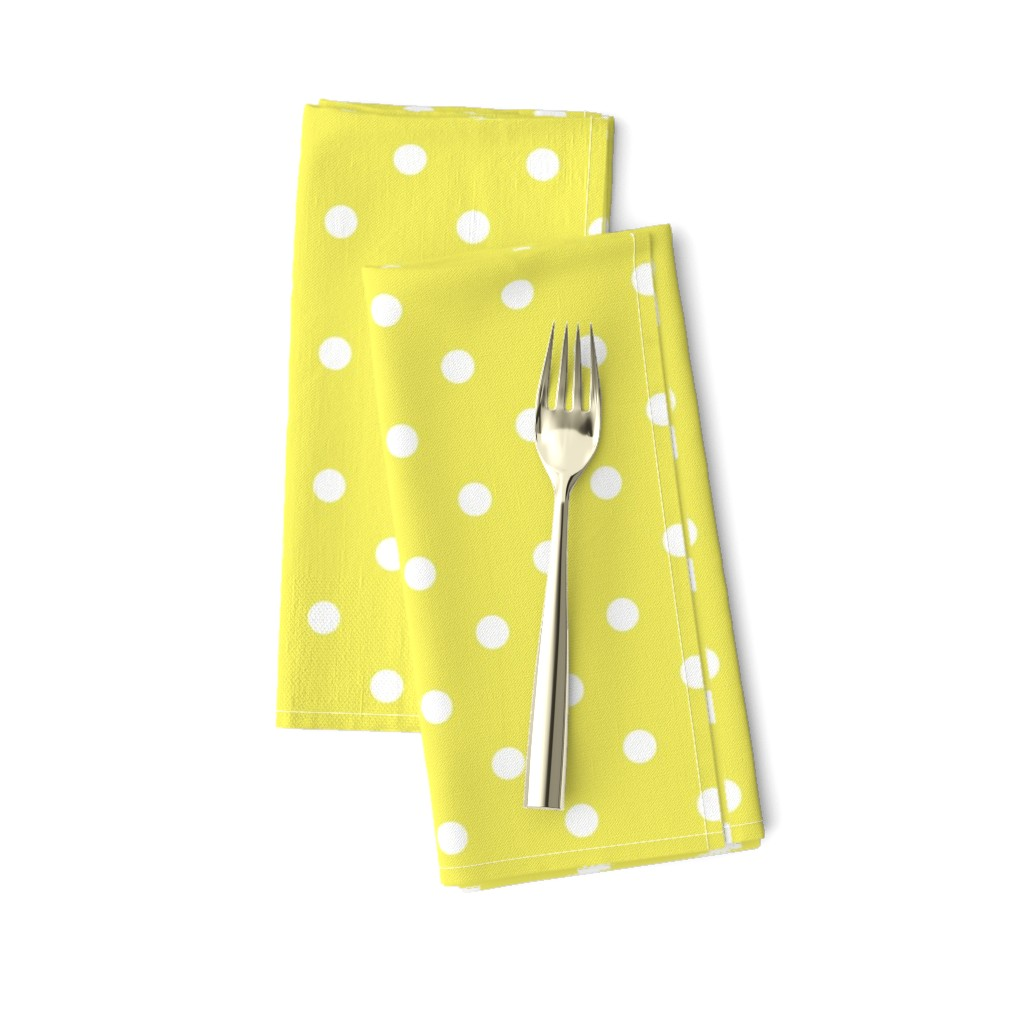 Amarela Dinner Napkins featuring Citron and White Polka Dots by paper_and_frill