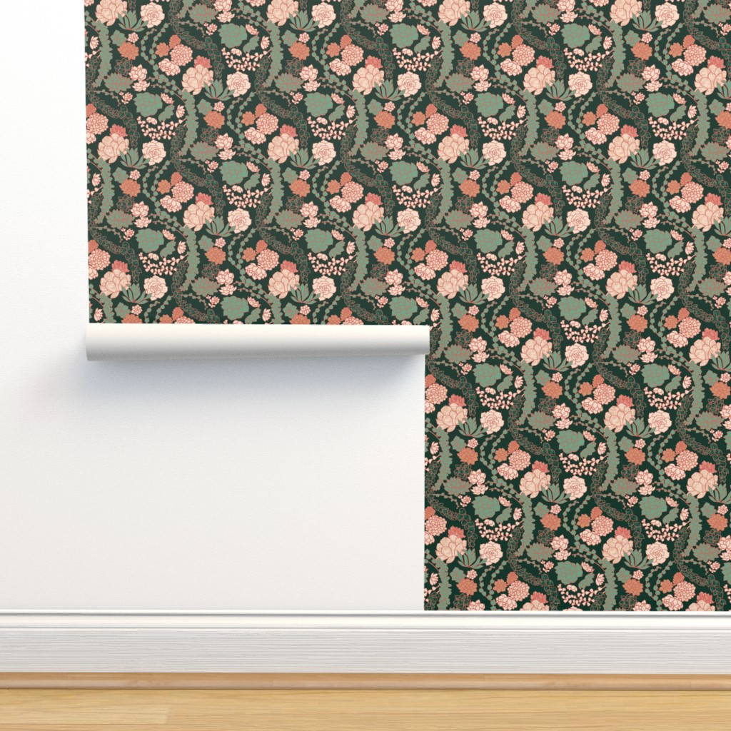 Isobar Durable Wallpaper featuring Succulent Waltz - Peach by ceciliamok