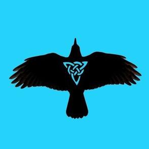 Raven in Flight Silhouette Blue