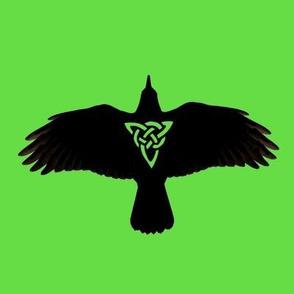 Raven in Flight Silhouette Green