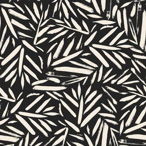 Brush Stroke Leaves black