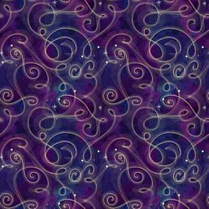 Dark Blue and Purple Watercolor Starfield | Purple Blue with Gold Swirls