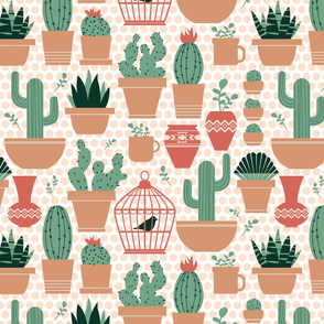Potted Succulents on Polka Dots