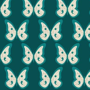 Teal Pearl Butterfly on Dark Teal