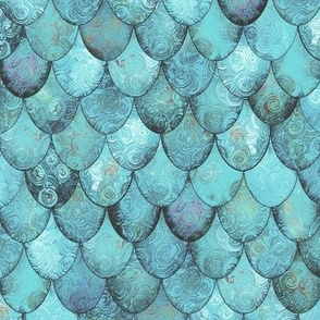 Silver + Light Teal Mermaid or Dragon Scales by Su_G_©SuSchaefer