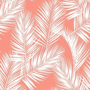 palm leaves - white on bright coral, small. silhuettes tropical forest bright coral pink hot summer palm plant tree leaves fabric wallpaper giftwrap