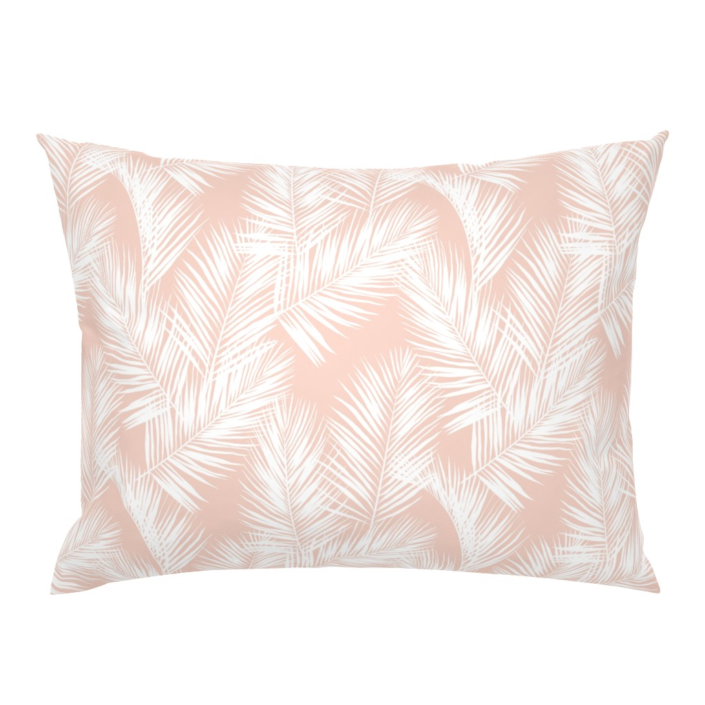 Campine Pillow Sham featuring palm leaves - white on blush, small. silhuettes tropical forest white blush light pink hot summer palm plant tree leaves fabric wallpaper giftwrap by mirabelleprint