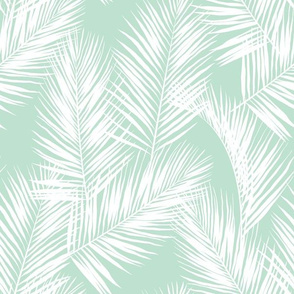 palm leaves - white on mint, small. silhuettes tropical forest mint light green mint hot summer palm plant tree leaves fabric wallpaper giftwrap
