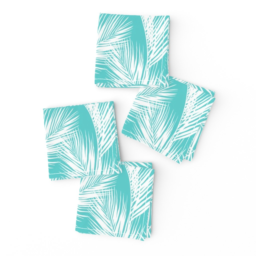 Frizzle Cocktail Napkins featuring palm leaves - white on turquoise, small. silhuettes tropical forest turquoise light blue white hot summer palm plant tree leaves fabric wallpaper giftwrap by mirabelleprint