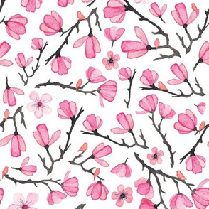 Pink Spring Cherry Blossom with Birds