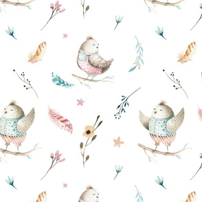 Watercolor bunny and bird 4