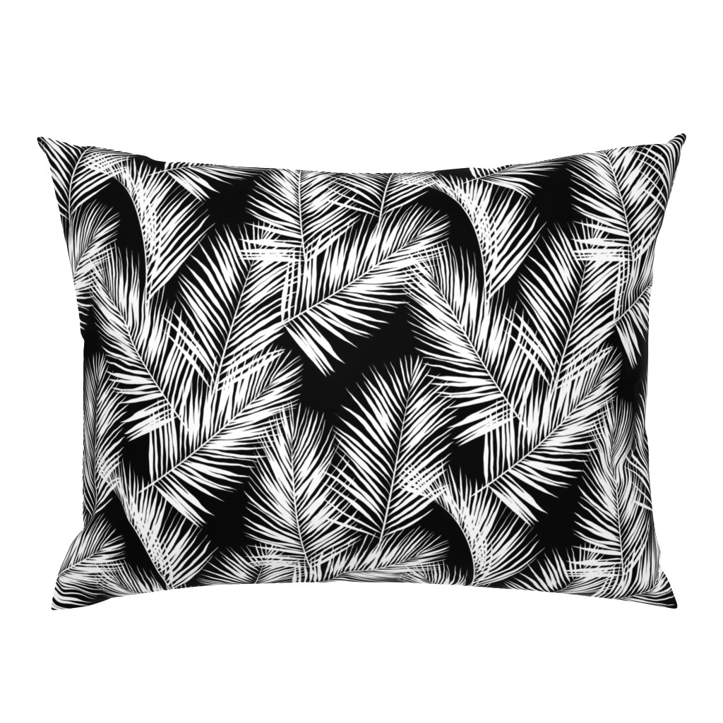 Campine Pillow Sham featuring palm leaves - white on black, silhuettes tropical forest black white simple hot summer palm plant tree leaves fabric wallpaper giftwrap by mirabelleprint