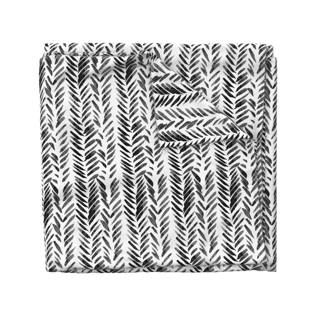 Wyandotte Duvet Cover featuring Black and White Brush Stroke Aztec Boho by hudsondesigncompany