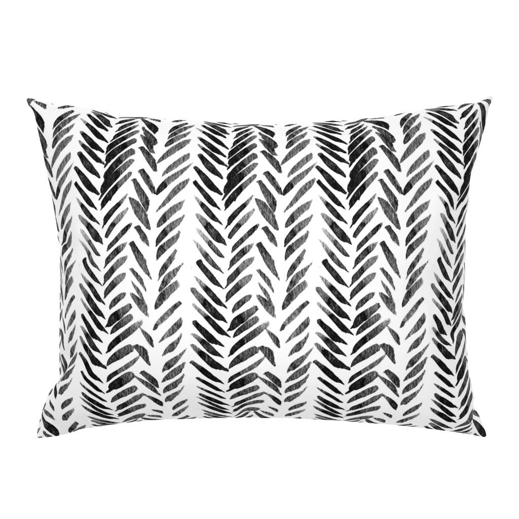 Campine Pillow Sham featuring Black and White Brush Stroke Aztec Boho by hudsondesigncompany
