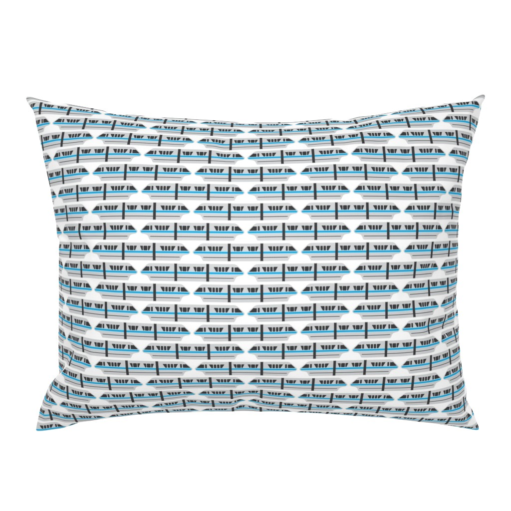 Campine Pillow Sham featuring Monorail - Teal by the_wookiee_workshop