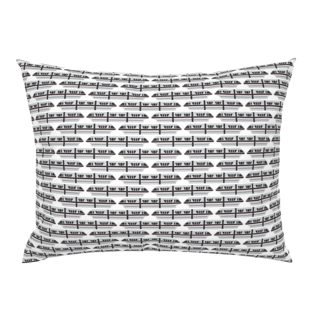 Campine Pillow Sham featuring Monorail - Black by the_wookiee_workshop
