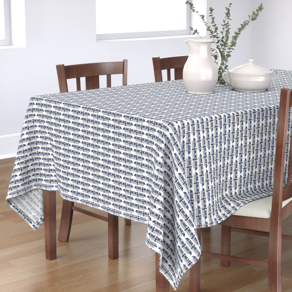 Bantam Rectangular Tablecloth featuring Monorail - Blue by the_wookiee_workshop
