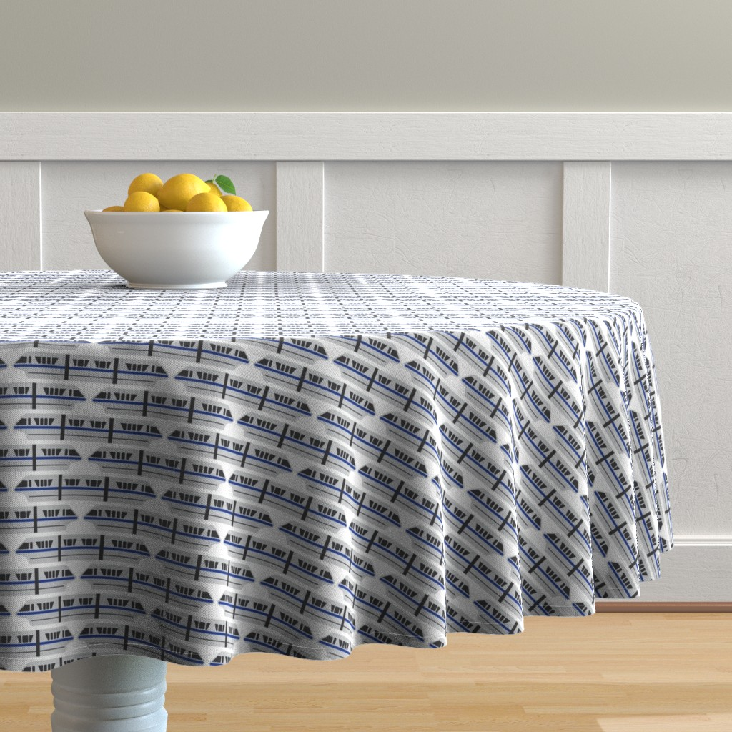Malay Round Tablecloth featuring Monorail - Blue by the_wookiee_workshop
