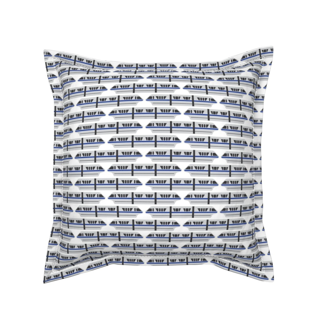 Serama Throw Pillow featuring Monorail - Blue by the_wookiee_workshop