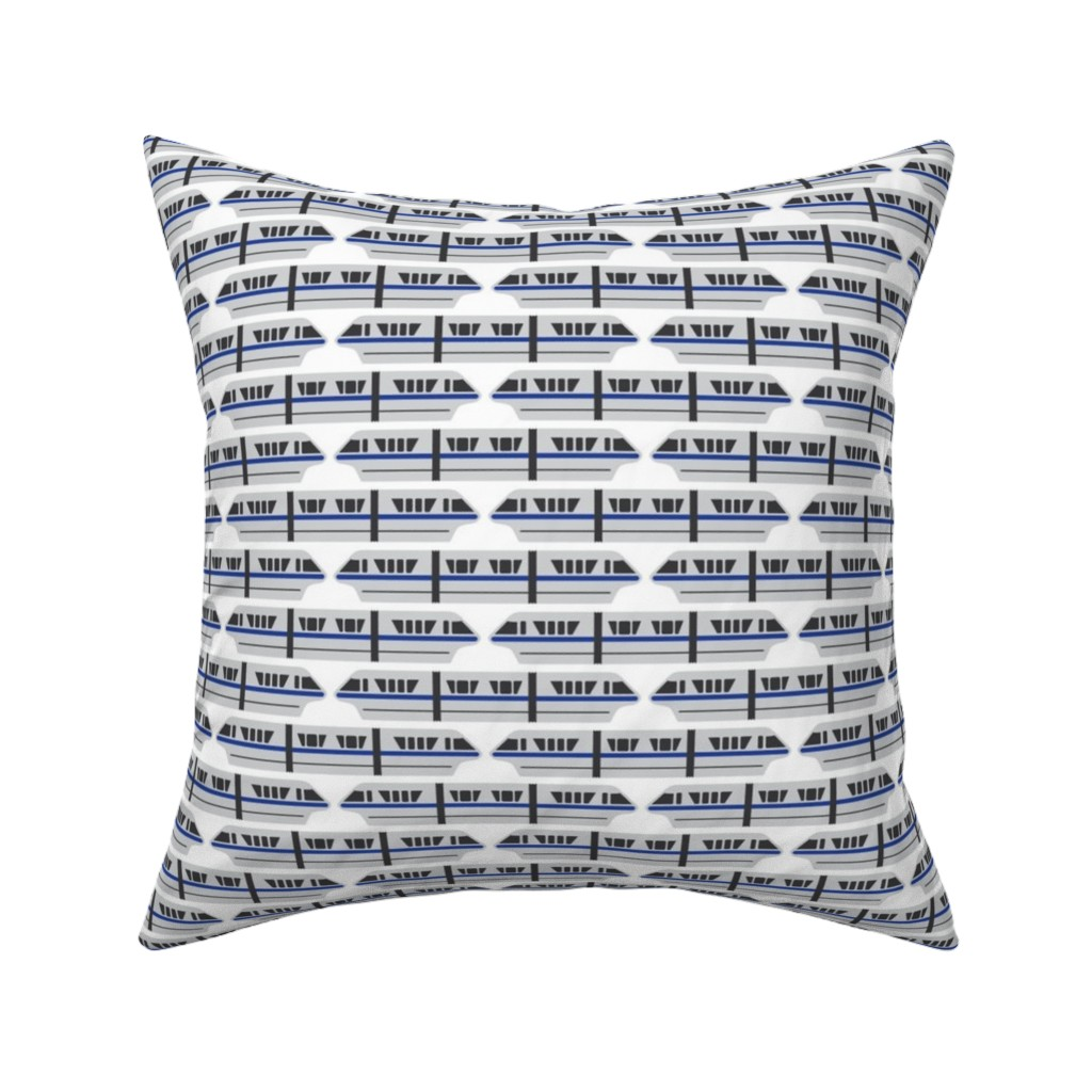 Catalan Throw Pillow featuring Monorail - Blue by the_wookiee_workshop