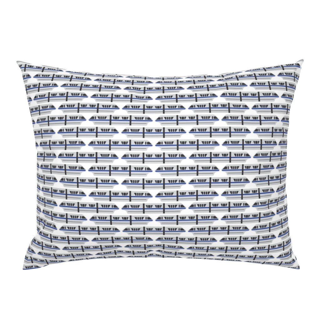 Campine Pillow Sham featuring Monorail - Blue by the_wookiee_workshop