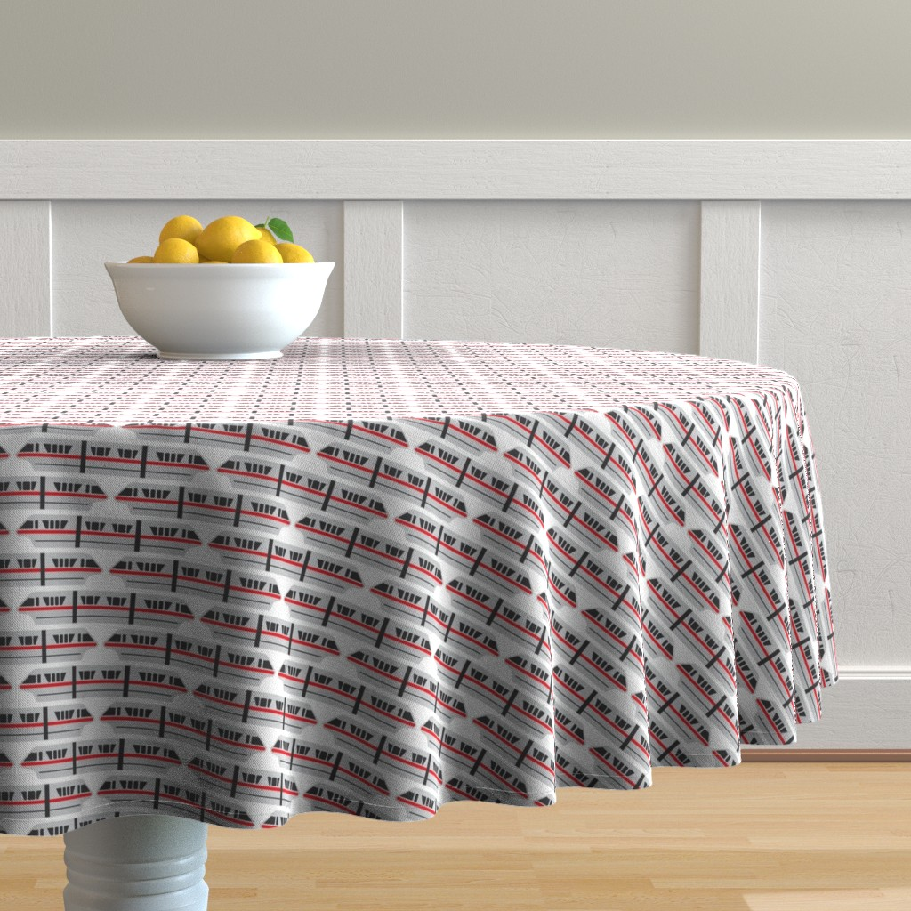 Malay Round Tablecloth featuring Monorail - Red by the_wookiee_workshop