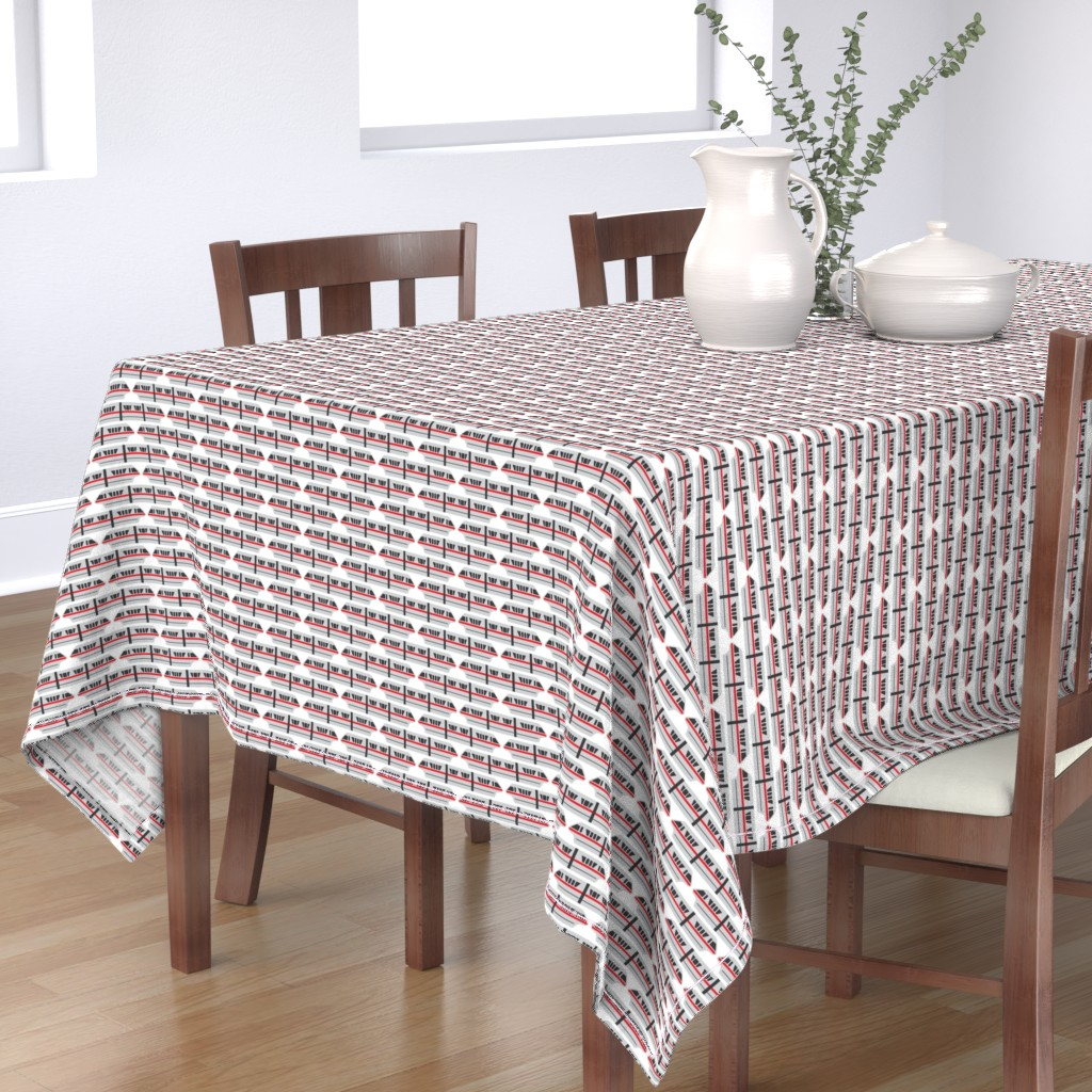 Bantam Rectangular Tablecloth featuring Monorail - Red by the_wookiee_workshop