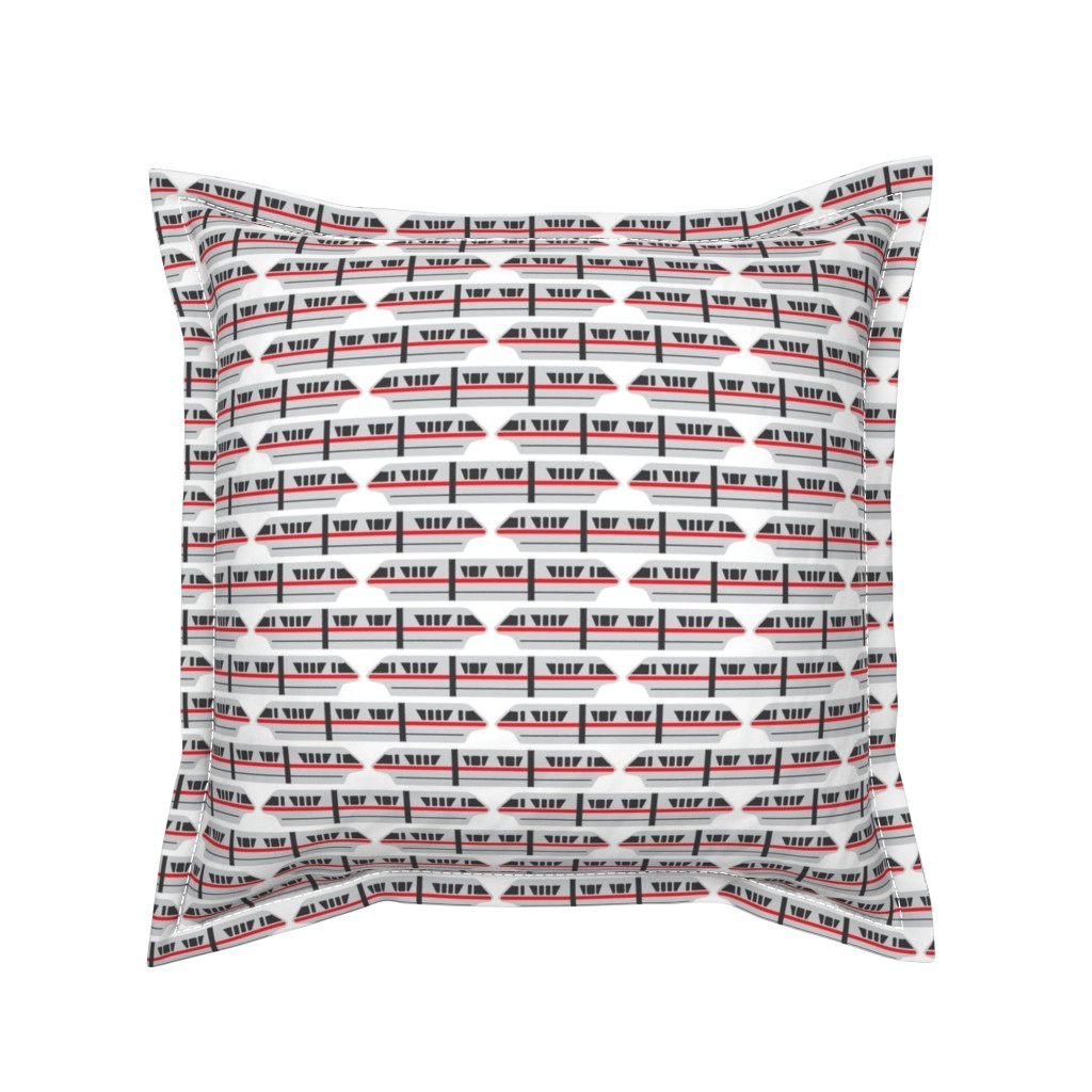 Serama Throw Pillow featuring Monorail - Red by the_wookiee_workshop