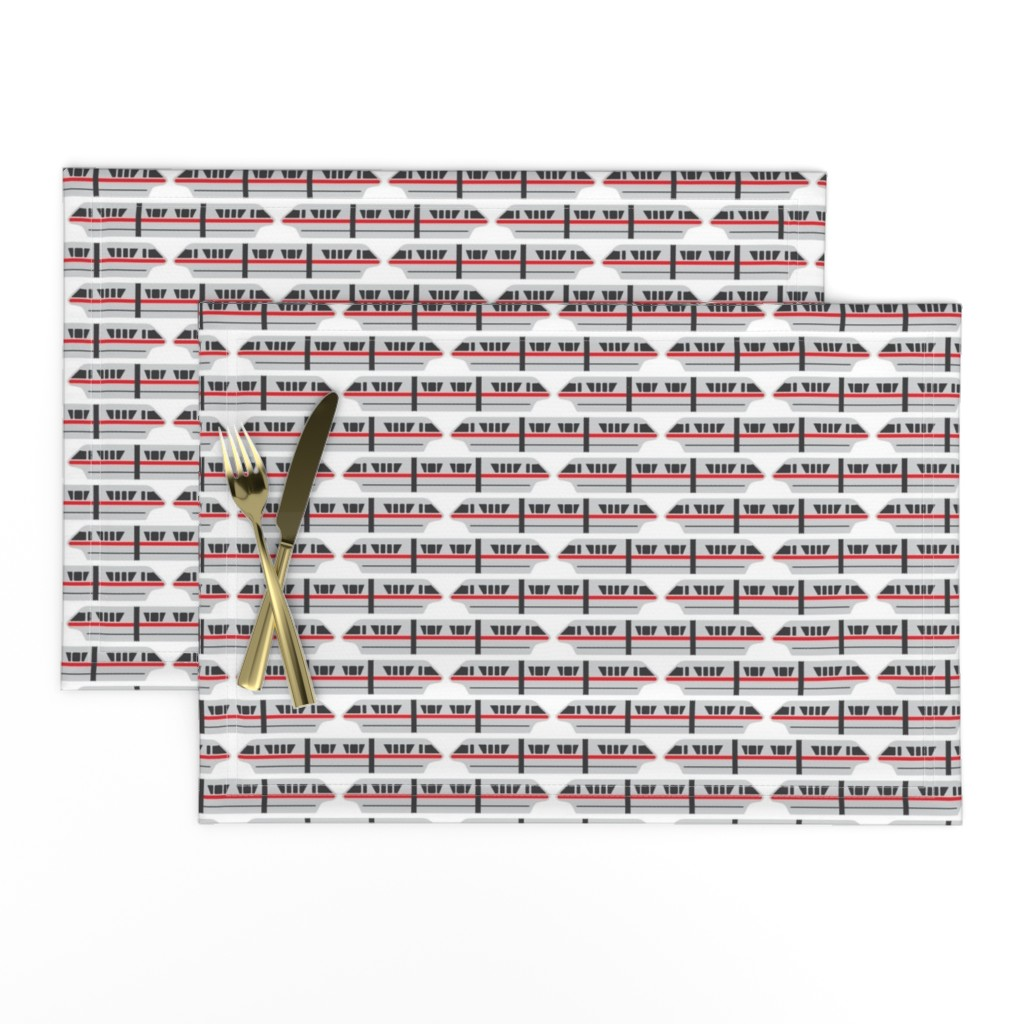 Lamona Cloth Placemats featuring Monorail - Red by the_wookiee_workshop
