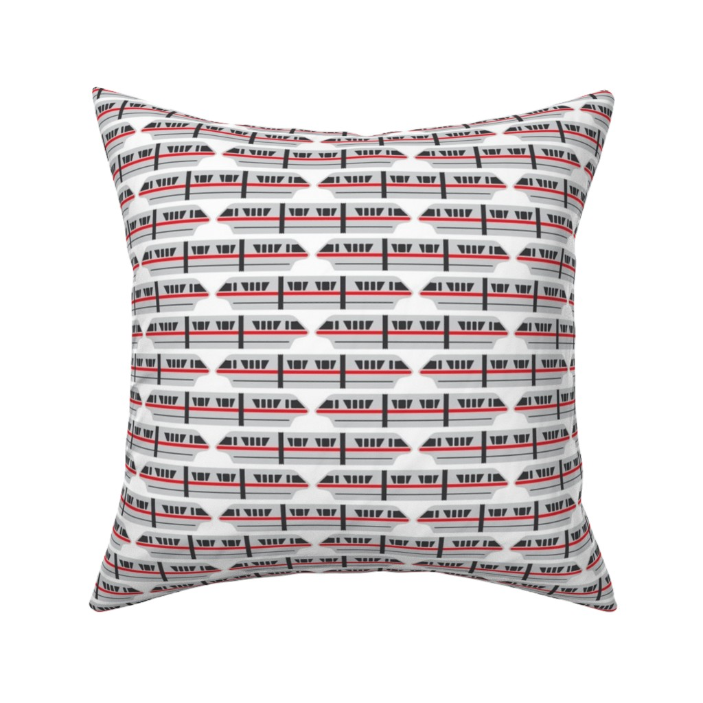 Catalan Throw Pillow featuring Monorail - Red by the_wookiee_workshop