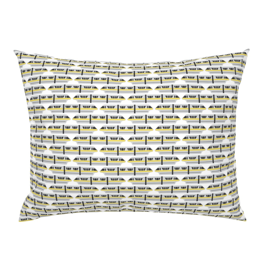 Campine Pillow Sham featuring Monorail - Yellow by the_wookiee_workshop