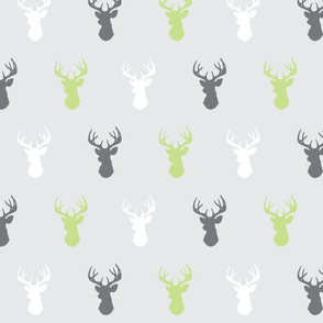 Deer- Sherwood Forest Modern - green apple and gray