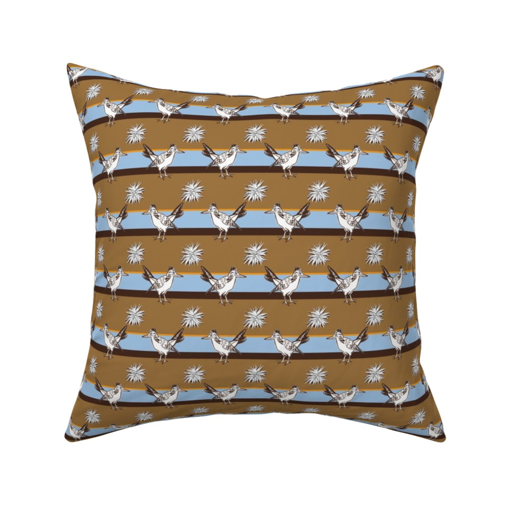 Catalan Throw Pillow featuring Roadrunner and agave #01 by colorofmagic