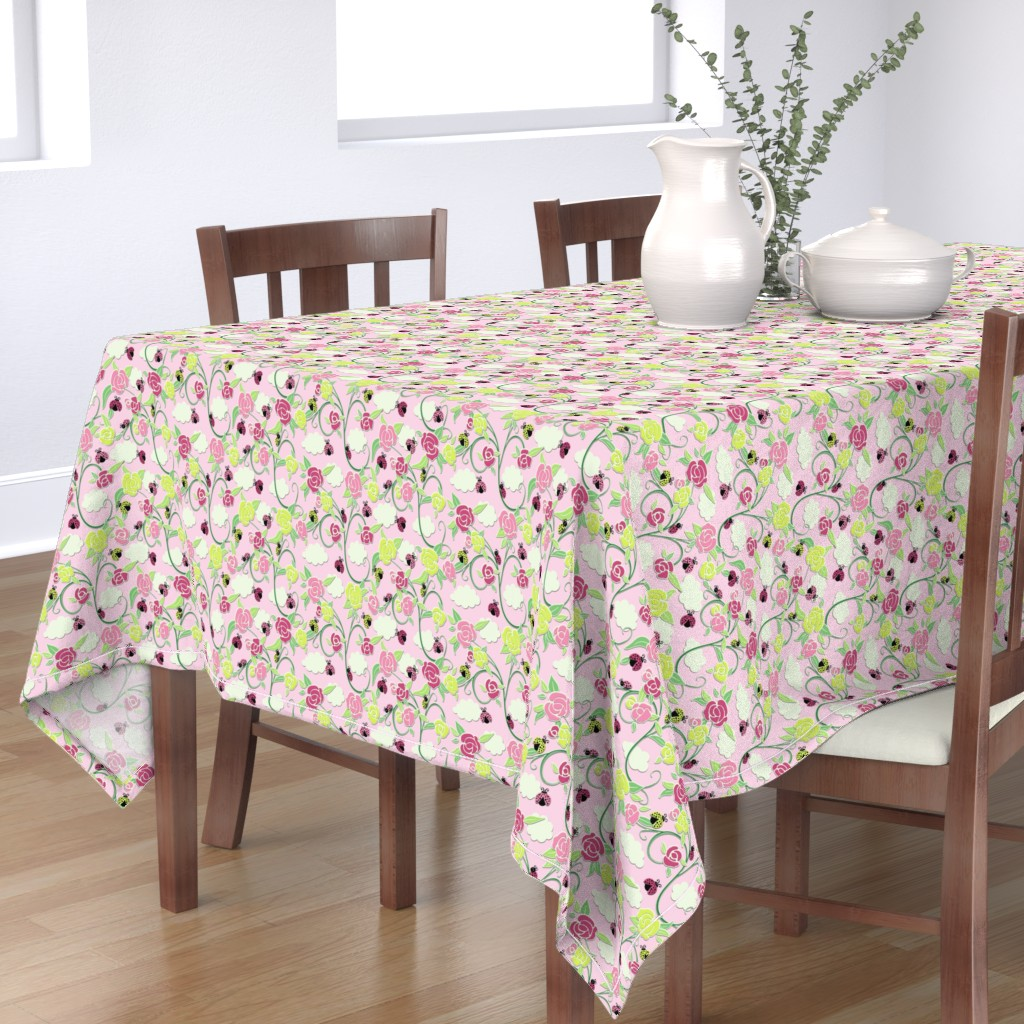 Bantam Rectangular Tablecloth featuring My Pretty Garden Helpers Pink Skies Med by inscribed_here